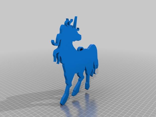 独角兽吊坠 3D打印模型渲染图