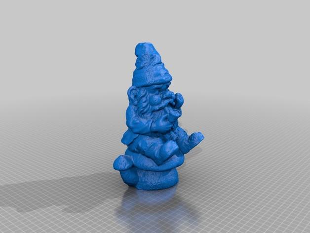 坐在蘑菇上的小矮人 3D打印模型渲染图