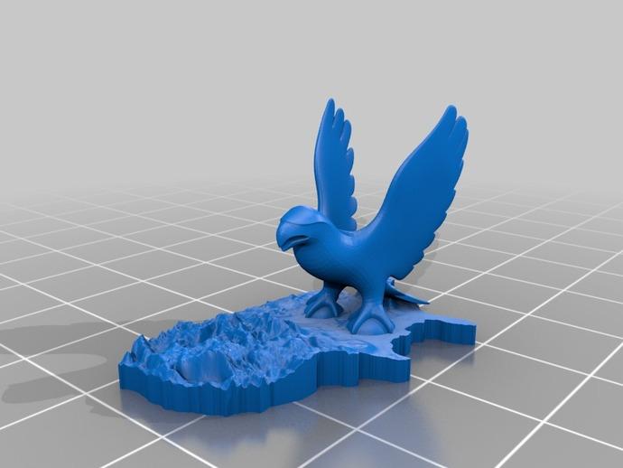 美国地形图 老鹰 3D打印模型渲染图