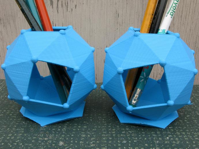 扭棱十二面体 笔筒 3D打印模型渲染图