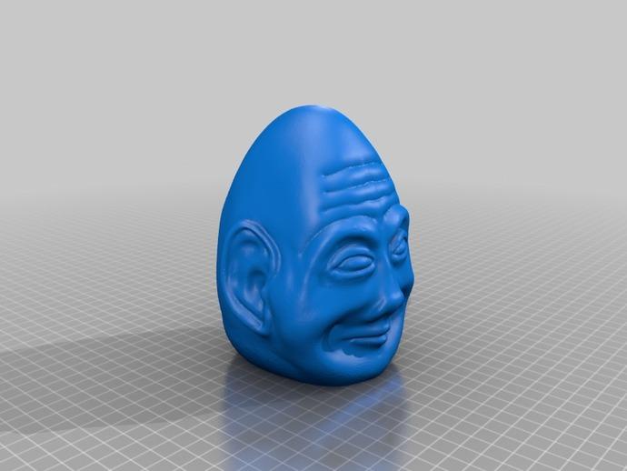 复活节彩蛋 长者头像 3D打印模型渲染图