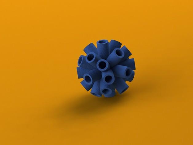 海胆 笔筒 3D打印模型渲染图
