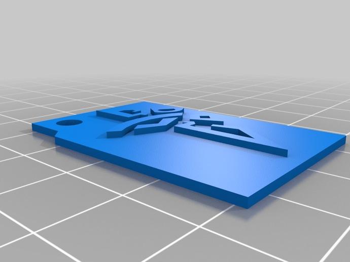 火炬钥匙坠 3D打印模型渲染图