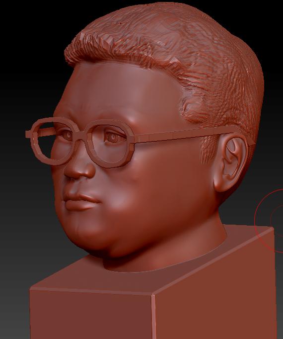 王胖胖本人自肖像 3D打印模型渲染图