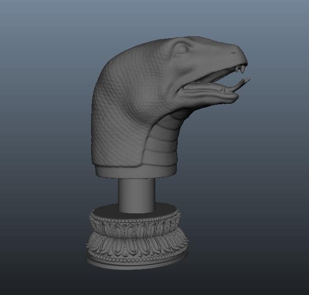 三维立体图 圆明园十二生肖兽首 蛇首