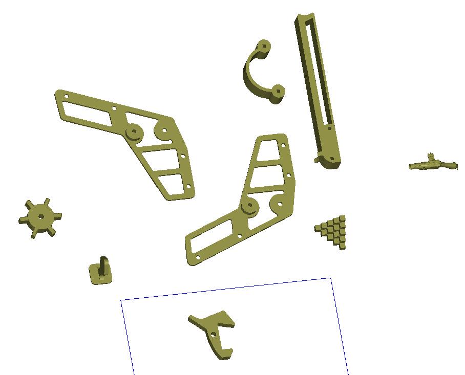 橡皮筋手枪 3D打印模型渲染图