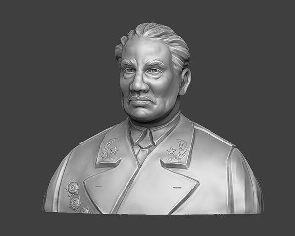 十大元帅 之 朱德 半身雕塑 脱帽 3D打印模型渲染图