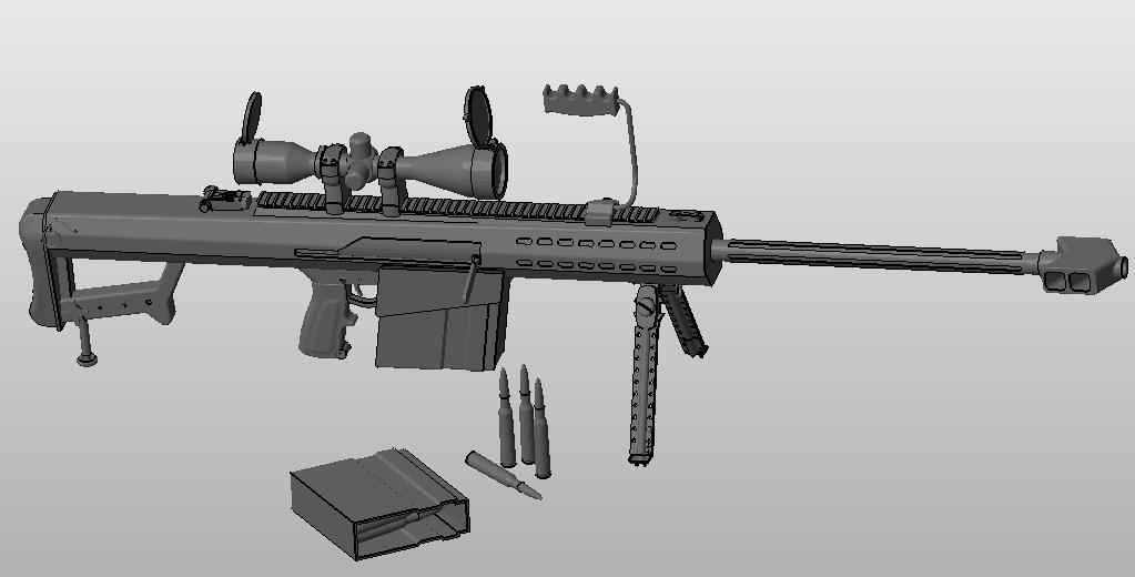 巴雷特狙击枪 3D打印模型渲染图