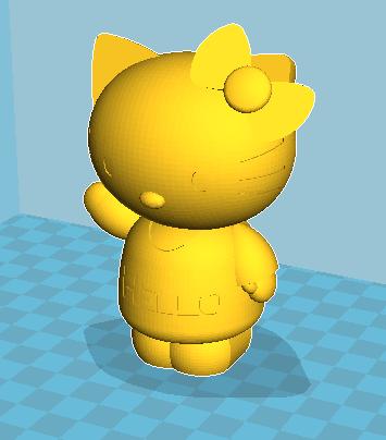 Hello kitty 2件套 3D打印模型渲染图