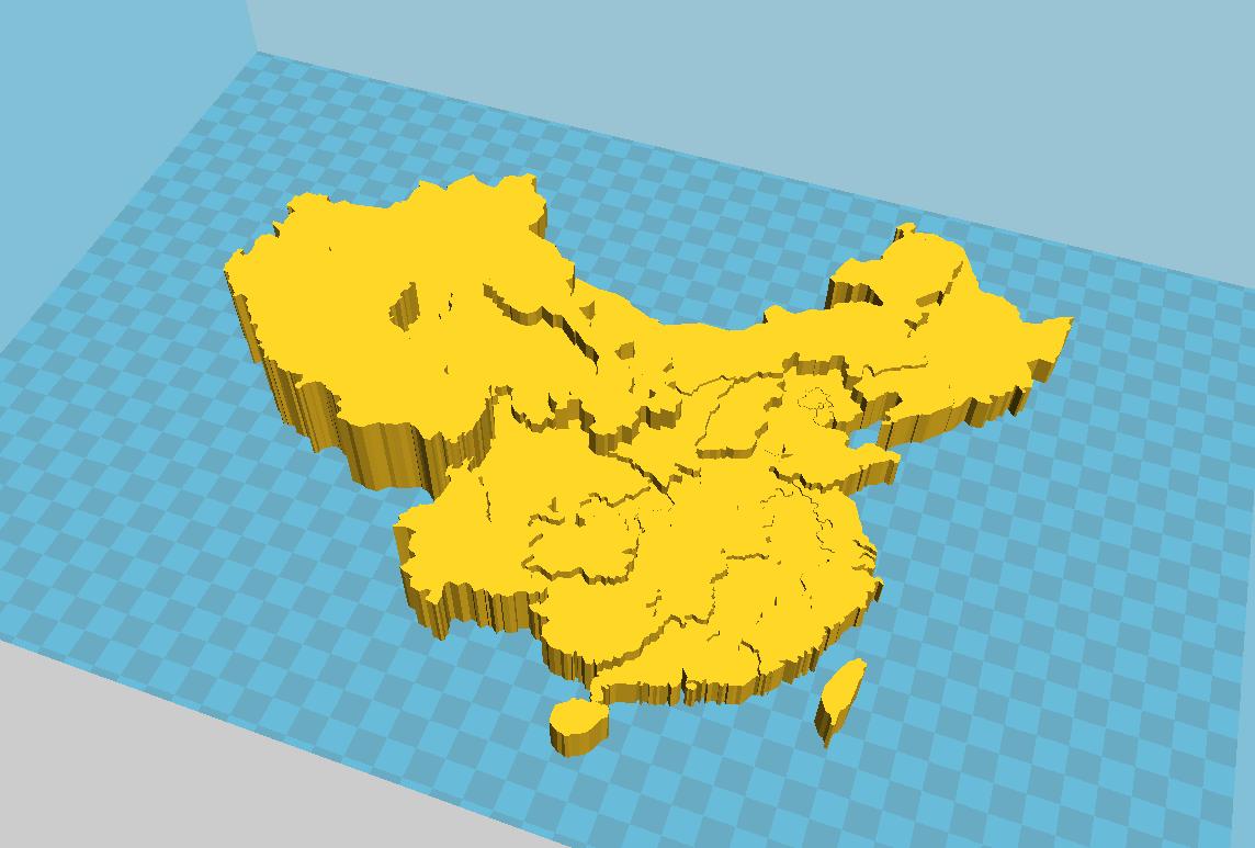 中国3D地图(精细,地势高低)