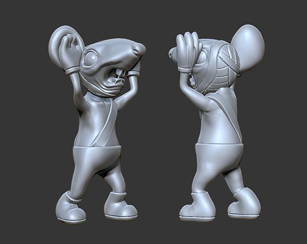 黑猫警长之翡翠之星——一只耳 3D打印模型渲染图
