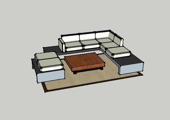 沙发组合 3D打印模型渲染图