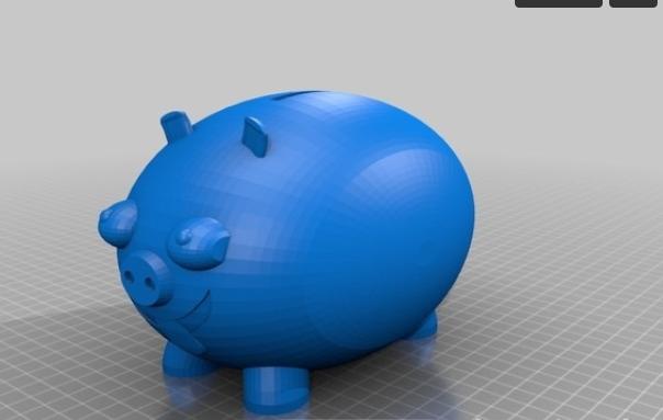 小猪存钱罐 3D打印模型渲染图