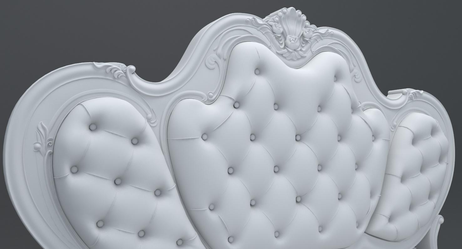 精品欧式雕花床模型 3D打印模型渲染图