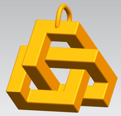 立方体挂件吊坠 3D打印模型渲染图