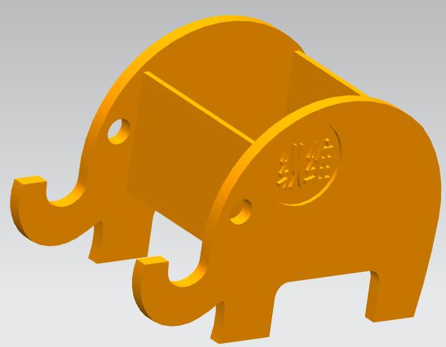 大像立体笔筒 3D打印模型渲染图