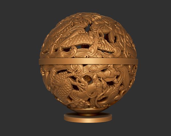 镂空浮雕球——桌面装饰 3D打印模型渲染图