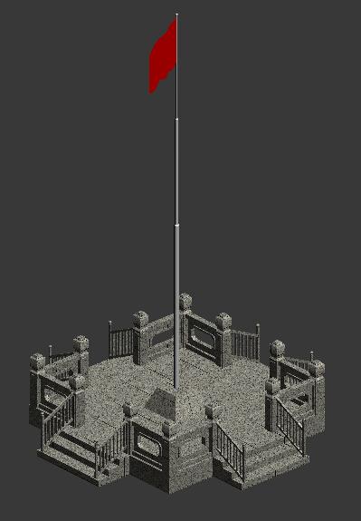 国旗 旗台 3D打印模型渲染图