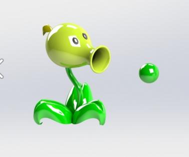 豌豆射手 3D打印模型渲染图