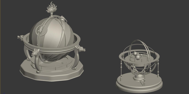 圆明园天文仪 地动仪 3D打印模型渲染图