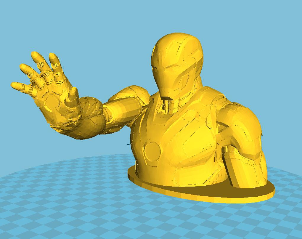 钢铁侠半身像 3D打印模型渲染图
