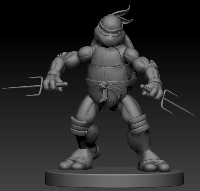 漫画版忍者神龟拉菲尔 3D打印模型渲染图