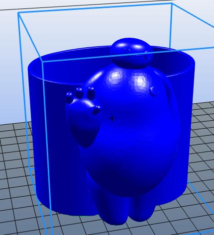大白笔筒 3D打印模型渲染图