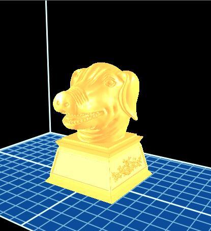 十二生肖 猪首 3D打印模型渲染图