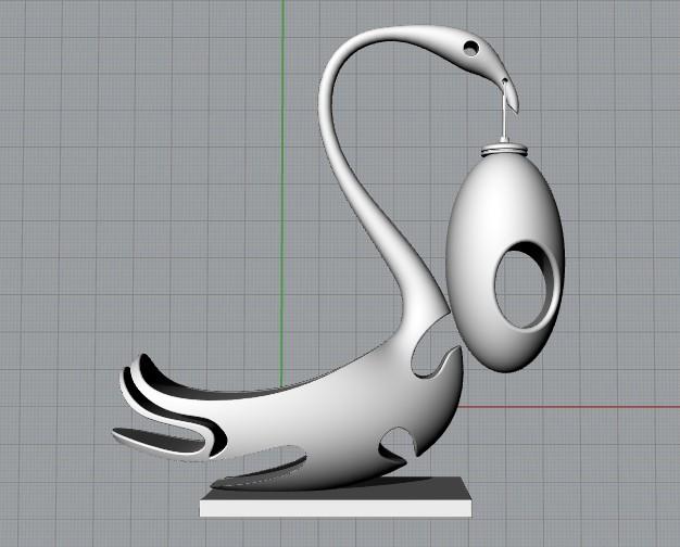 天鹅陶瓷灯 3D打印模型渲染图
