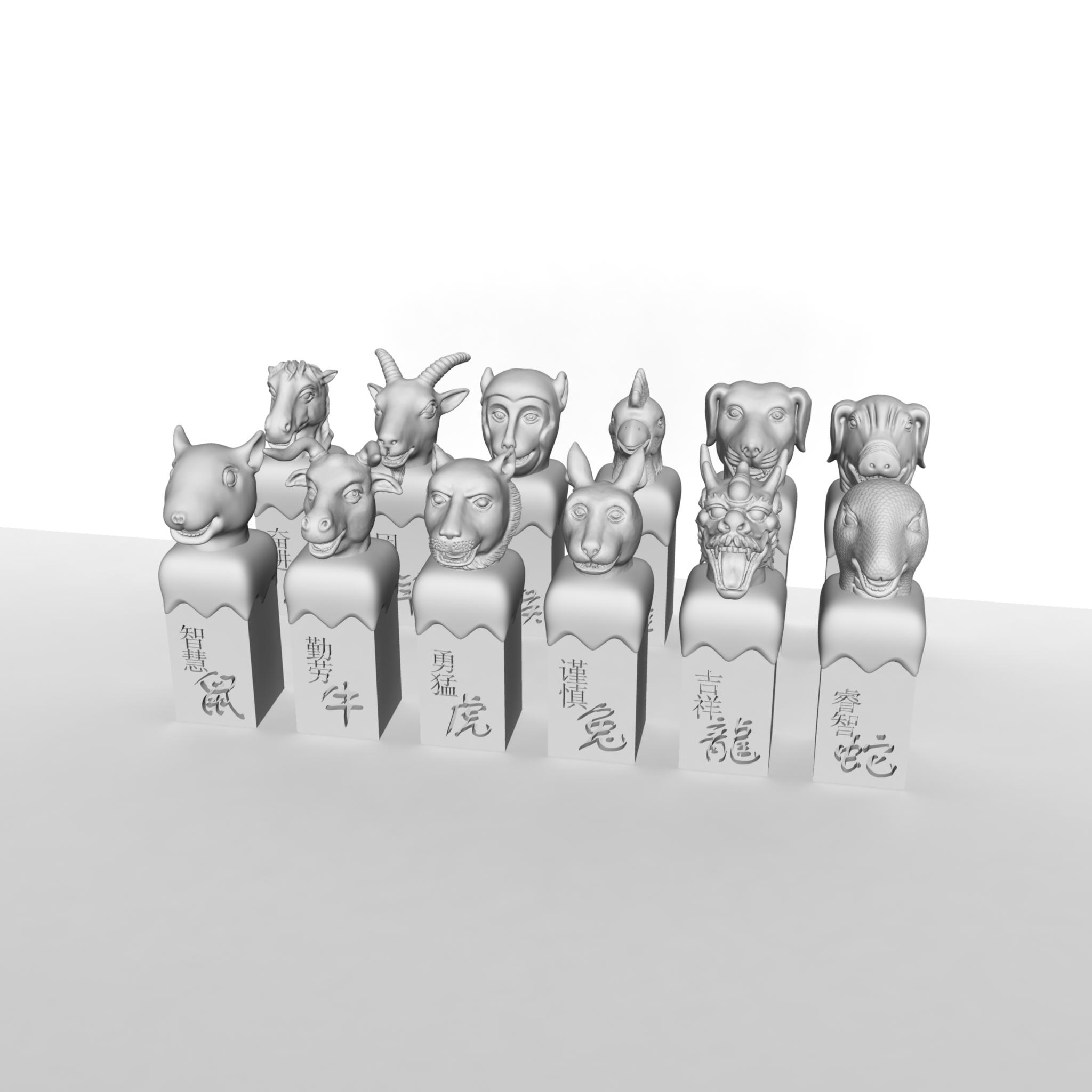 十二生肖兽首印章系列—全十二兽首印章 3D打印模型渲染图