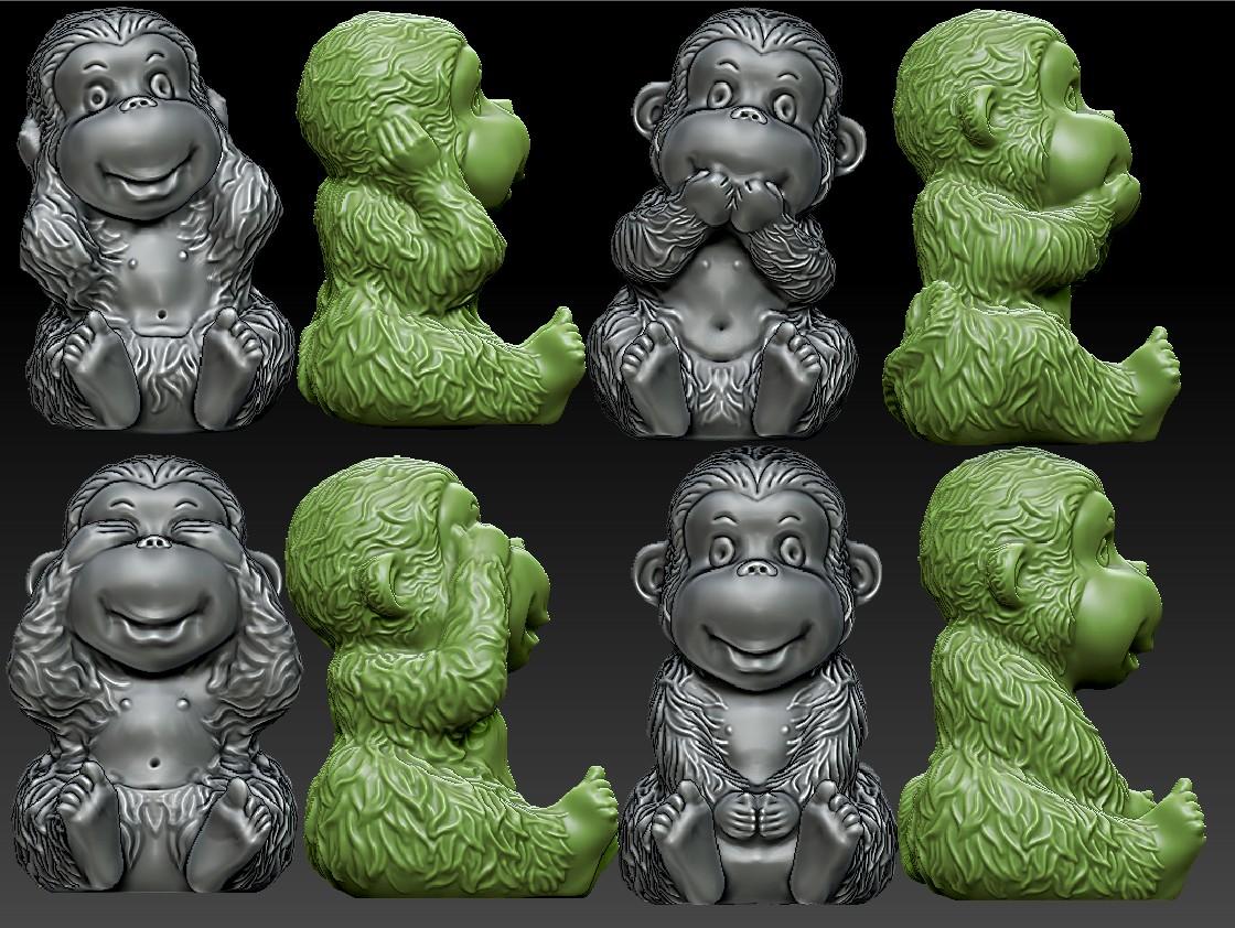 猴子,猴年 不说不看不听不动