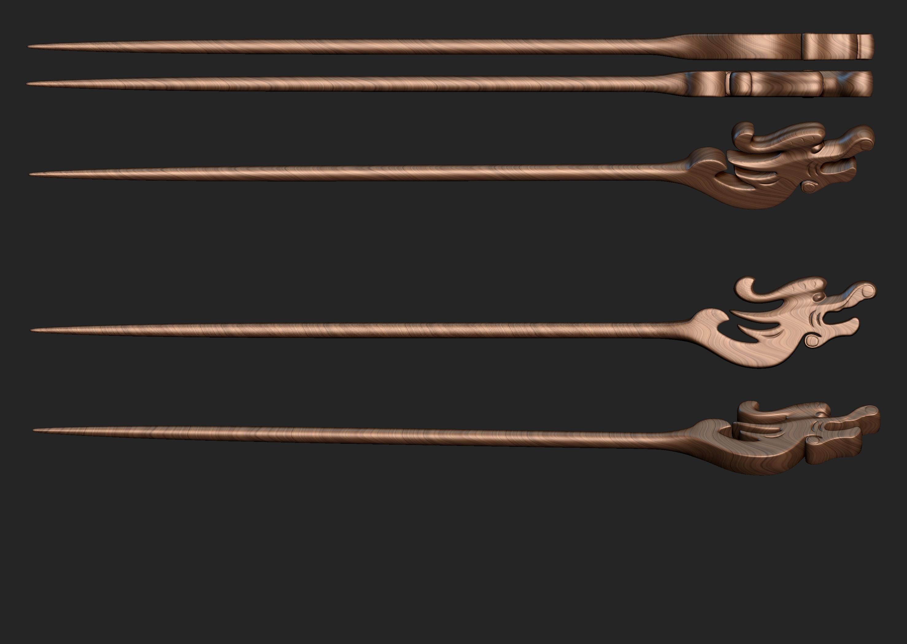 龙首木簪 3D打印模型渲染图