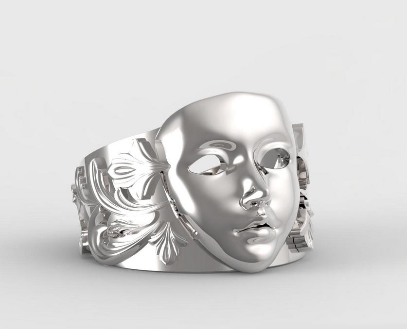 面具戒指 3D打印图片