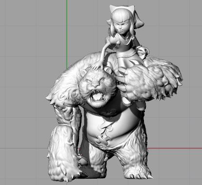安妮和小熊(带底座) 3D打印模型渲染图