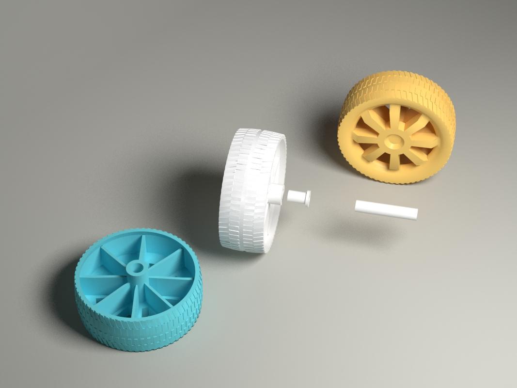 60mm玩具车轮 组件 可以配3mm轴