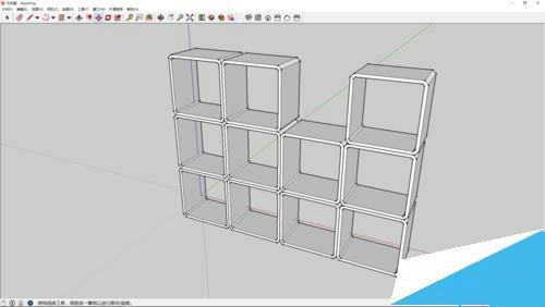 sketchup建模教程:绘制模块型置物架书架