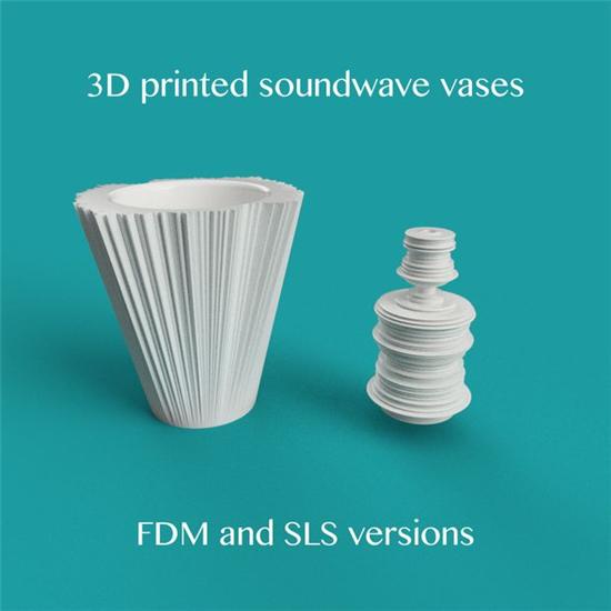 """""""看见""""你的声音 美国设计师制作3D打印声波花瓶"""