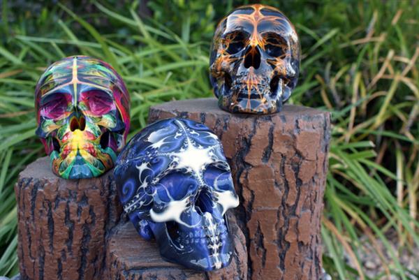 既惊艳又惊悚 美国专家推出印有分形图案的3D打印人类头骨骷髅模型