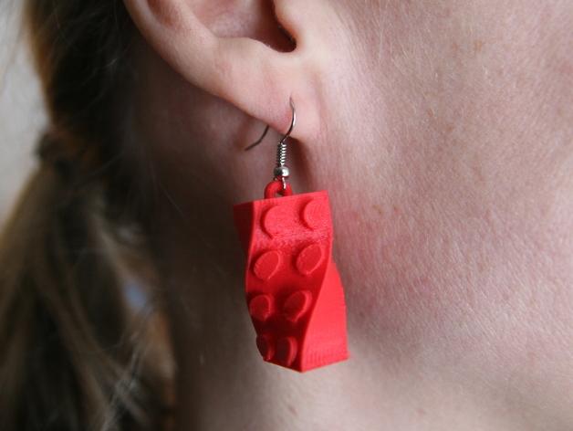 乐高积木耳环